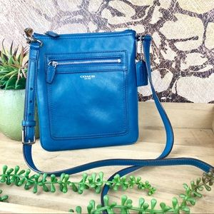 Coach Leather Swingpack Crossbody Bag Cobalt Blue